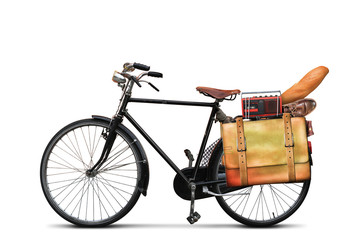 Classic urban bike with the loaded trunk