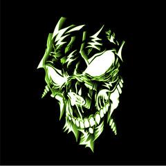Neon lighting skull illustration