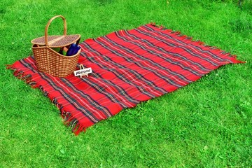 Picnic blanket and basket on the lawn