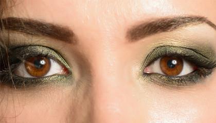 Close-up shot of woman eyes with beautiful makeup