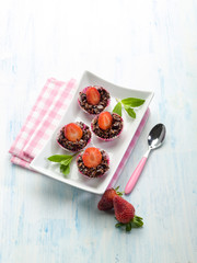 strawberry canapes with chocolate