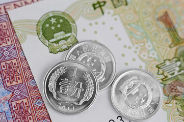 Chinese Yuan Notes and Coins