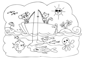 Coloring maze game for little children about fishing