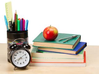 School supplies and alarm clock