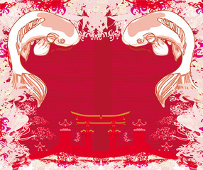 japanese koi and ancient building - abstract frame
