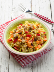 vegetarian couscous with seitan capsicum and dried grapes