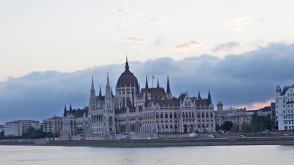 Parliament building in Budapest early  morning