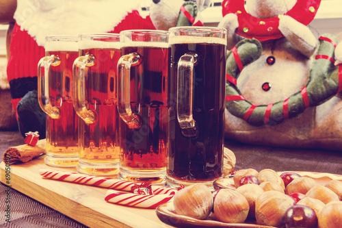 Fotobehang Bier / Cider Christmas Beer Flight
