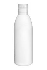 Plastic bottle of body care and beauty products