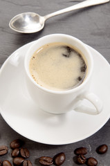 espresso coffee in a small white cup