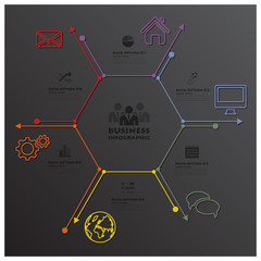 Modern Hexagon Geometric Line Shape Business Infographic