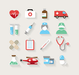 Medical Icons in Flat Design Style