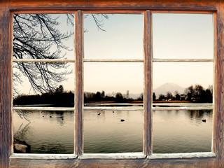 Fensterblick Leopoldskroner Weiher