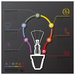 Light Bulb Connection Timeline Business Infographic