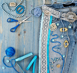 Jeans decorated with ribbons and lace by hand
