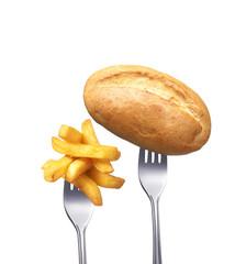 Pommes mit Brötchen