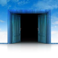 double wooden door opened in sky background 3D