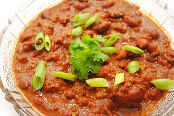 Hot and Spicy Chili Served with Fresh Scallions