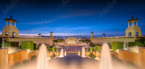 canvas print picture night view of Magic Fountain in Barcelona