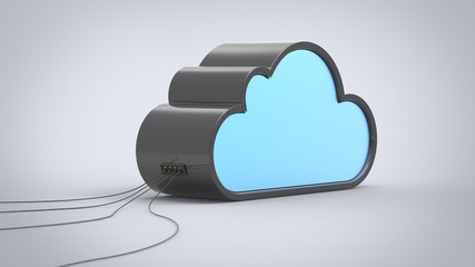Cloud Computing Abstract Device with Cables Connected