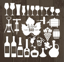 Wine set icons.