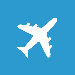 airplane icon, white on the blue background .