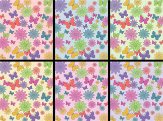 Flowers, butterflies pattern with 6 different backgrounds