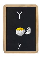 letter Y on blackboard