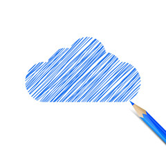 Blue cloud drawn with pencil