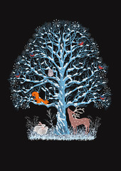 Big blue tree with different animals on black background