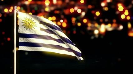 Uruguay National Flag City Light Night Bokeh Loop Animation