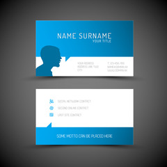Modern simple blue business card template with user profile