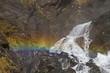 canvas print picture - Wasserfalldetail mit Regenbogen