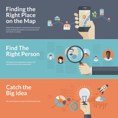 Flat design concepts for GPS navigation, career, and business