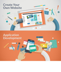 Flat design concepts for websites and apps development