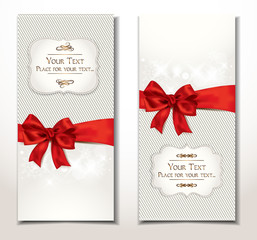 vector fabric textile banners with red bow