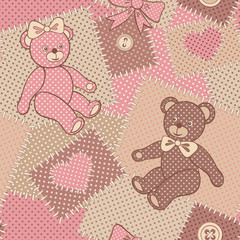 Seamless pattern with cute bears Teddy