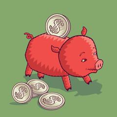 Свинья-копилка и монеты с символом доллара