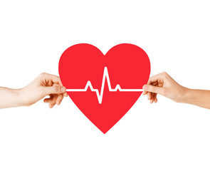 hands holding heart with ecg line