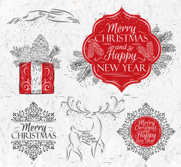 Merry Christmas graphics elegant vintage
