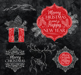 Merry Christmas graphics elegant vintage chalk