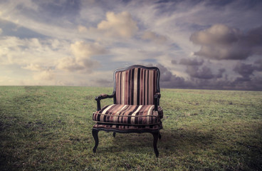 empty chair in a meadow
