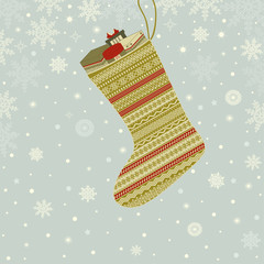 Greeting card with Christmas sock with gifts