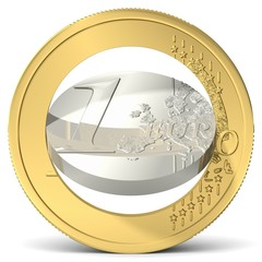 Euro in zwei Teile gebrochen