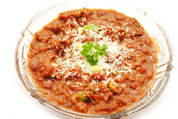 Served Meat and Bean Chili with Cheese
