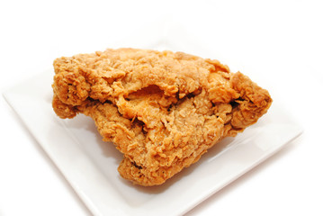 Crispy Fried Chicken Served on a Small White Plate