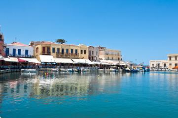 The old venetian harbour in Rethymno.Crete,Greece.
