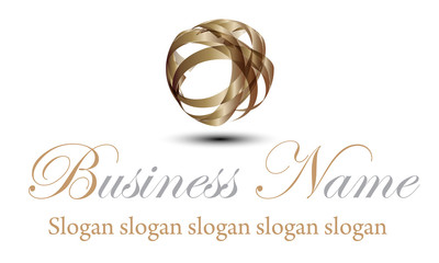 logo ruban brun brillant