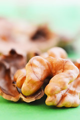 Walnut kernels and whole walnuts isolated
