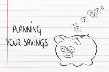 finance and saving money, funny piggy bank with coins dropping i
